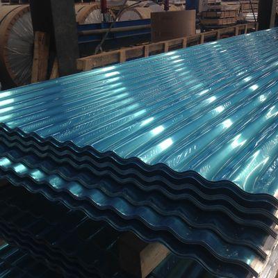 Exposed Fastener 12 ft Aluminum Roofing Sheet Panel White / Blue ISO 9001 Approval